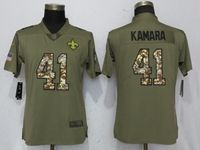 Women New Orleans Saints #41 Alvin Kamara Green Olive Camo Carson 2017 Salute To Service Elite Player Jersey
