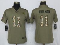 Women New England Patriots #11 Julian Edelman Green Olive Camo Carson 2017 Salute To Service Elite Player Jersey