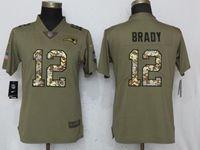 Women New England Patriots #12 Tom Brady Green Olive Camo Carson 2017 Salute To Service Elite Player Jersey