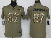 Women New England Patriots #87 Rob Gronkowski Green Olive Camo Carson 2017 Salute To Service Elite Player Jersey