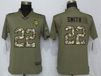 Women Minnesota Vikings #22 Harrison Smith Green Olive Camo Carson 2017 Salute To Service Elite Player Jersey
