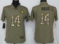 Women Minnesota Vikings #14 Stefon Diggs Green Olive Camo Carson 2017 Salute To Service Elite Player Jersey