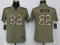 Women Dallas Cowboys #82 Jason Witten Green Olive Camo Carson 2017 Salute To Service Elite Player Jersey