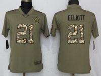 Women Dallas Cowboys #21 Ezekiel Elliott Green Olive Camo Carson 2017 Salute To Service Elite Player Jersey