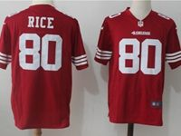 Mens Nfl San Francisco 49ers #80 Rice Red Nike Game Jersey