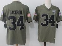 Mens Nfl Oakland Raiders #34 Bo Jackson Green Olive Salute To Service Limited Nike Jersey