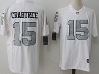 Mens Nfl Oakland Raiders #15 Michael Crabtree White Silver Number Vapor Untouchable Limited Jersey