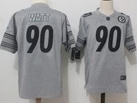 Mens Nfl Pittsburgh Steelers #90 T. J. Watt Gray Nike Limited Jersey