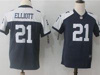 Women Youth Nfl Dallas Cowboys #21 Ezekiel Elliott Blue Thanksgiving Vapor Untouchable Limited Jersey