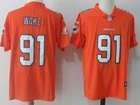 Mens Nfl Miami Dolphins #91 Wake Green Orange Vapor Untouchable Limited Player Jersey