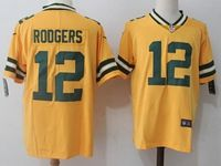Mens Nfl Green Bay Packers #12 Aaron Rodgers Yellow Vapor Untouchable Color Rush Limited Player Jersey