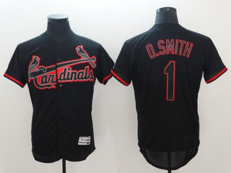 Mens Majestic St.louis Cardinals #1 Ozzie Smith Black Cool Base Jersey