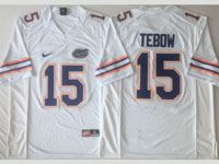 Mens Ncaa Nfl Florida Gators#15 Tebow White Jersey
