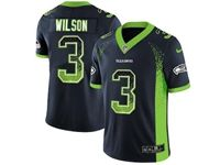 Mens Nfl Seattle Seahawks #3 Russell Wilson Blue Drift Fashion Vapor Untouchable Limited Jersey