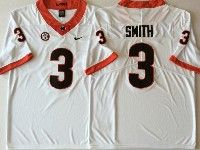 Mens Ncaa Nfl Georgia Bulldogs #3 Smith White Jersey