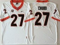Mens Ncaa Nfl Georgia Bulldogs #27 Nick Chubb White Jersey