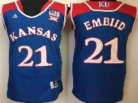 Mens Ncaa Nba Kansas Jayhawks #21 Embiid Blue Jersey