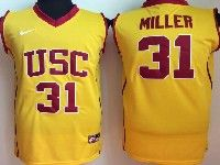 Mens Ncaa Nba Usc Trojans #31 Miller Yellow Jersey