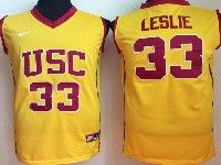 Mens Ncaa Nba Usc Trojans #33 Leslie Yellow Jersey