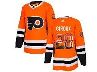 Mens Philadelphia Flyers #28 Claude Giroux Orange Drift Fashion Home Adidas Jersey