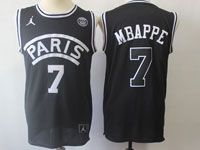 Mens Nba Movie Aj Psg Paris Saint Germain #7 Mbappe Basketball Balck Jersey