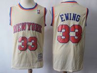 Mens Nba New York Knicks #33 Patrick Ewing Cream Hardwood Classic Jersey