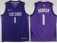 Mens Nba Phoenix Suns #1 Devin Booker Purple Nike Los Suns Swingman Jersey