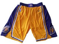 Mens 2017-18 Season Nba Los Angeles Lakers Yellow Purple Waist Nike Shorts