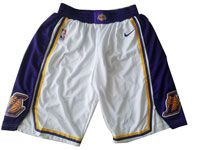 Mens 2017-18 Season Nba Los Angeles Lakers White Purple Waist Nike Shorts