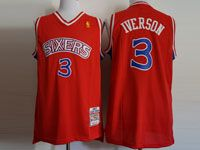Mens Nba Philadelphia 76ers 76ers #3 Allen Iverson Red Mitchell And Ness Swingman Hardwood Classics Mesh Jersey