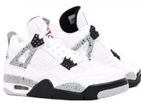 Mens Jordan 4 Nike Air Basketball Shoes White Grey Black
