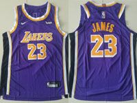 Youth Nba Los Angeles Lakers #23 Lebron James Nike 2018-19 Authentic Purple Jersey