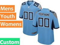 Mens Women Youth Nfl Tennessee Titans Custom Made 2018 Light Blue Game Jersey