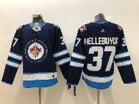 Mens Nhl Winnipeg Jets #37 Connor Hellebuyck Blue Adidas Jersey