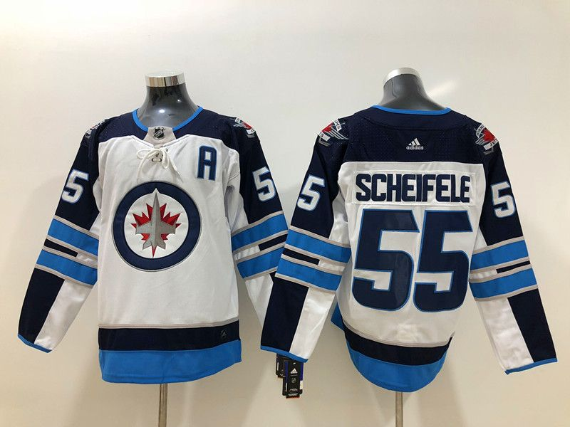 Mens Nhl Winnipeg Jets #55 Mark Scheifele (a) White Adidas Jersey