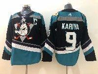 Mens Nhl Anaheim Mighty Ducks #9 Paul Kariya Black Teal Adidas Alternate Jersey