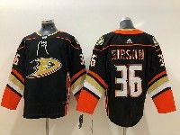 Mens Nhl Anaheim Mighty Ducks #36 John Gibson Black Adidas Home Jersey