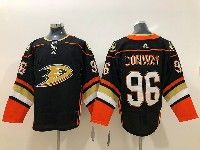 Mens Nhl Anaheim Mighty Ducks #96 Charlie Conway Black Adidas Home Jersey