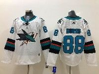 Mens Nhl San Jose Sharks #88 Brent Burns White Adidas Jersey