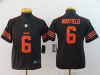 Women Youth Nfl Cleveland Browns #6 Baker Mayfield Brown Color Rush Vapor Untouchable Limited Nike Jersey