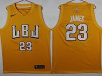 New Mens Nba Los Angeles Lakers #23 Lebron James Yellow Mitchell&ness Jersey