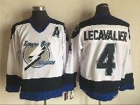Mens Nhl Tampa Bay Lightning #4 Vincent Lecavalier White Throwbacks Ccm Jersey