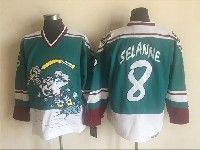 Mens Nhl Nashville Predators #8 Teemu Selanne Green White Anaheim Stitched Throwbacks Ccm Jersey