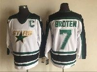 Mens Nhl Dallas Stars #7 Neal Broten White Throwbacks Ccm Jersey With C Patch