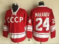 Mens Nhl Team Russia #24 Sergei Makarov Red Throwbacks Ccm Jersey