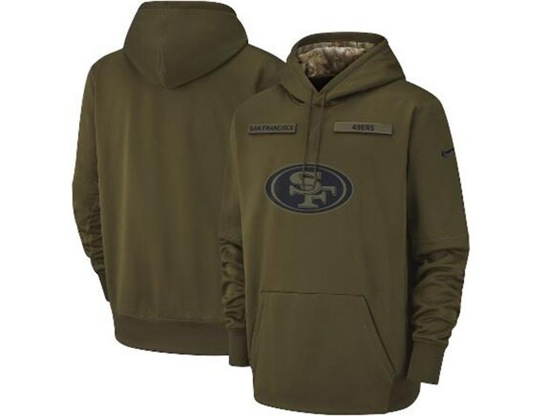 Mens Youth Nfl San Francisco 49ers Green Olive Salute To Service Sideline Therma Performance Pullover Hoodie Nike Jersey