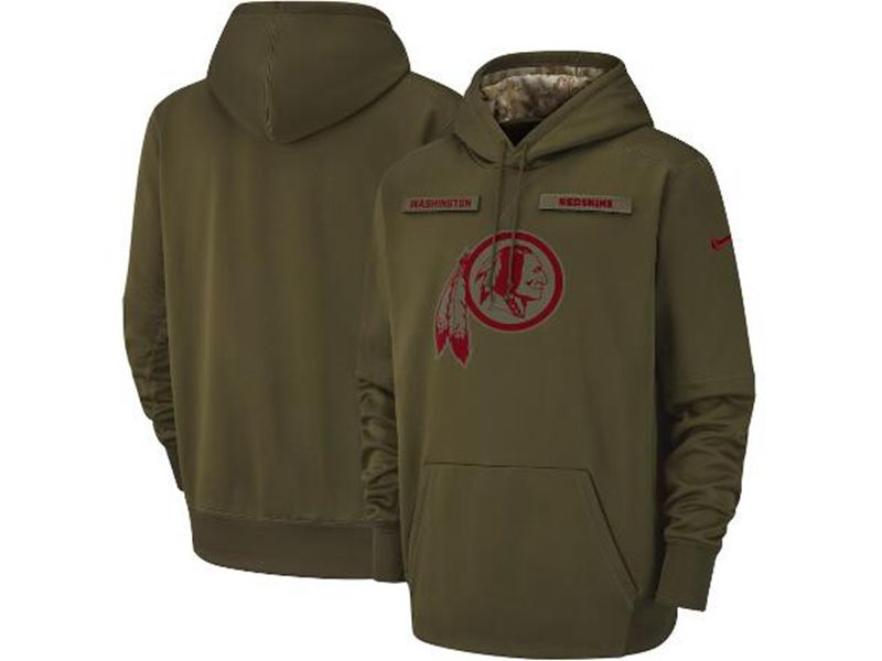 Mens Youth Nfl Washington Redskins Green Olive Salute To Service Sideline Therma Performance Pullover Hoodie Nike Jersey
