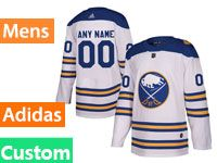 Mens Adidas Buffalo Sabres Custom Made 2018 Winter Classic White Jersey