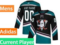 Mens Adidas Anaheim Ducks Alternate Black Teal Current Player Jersey