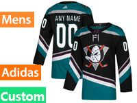 Mens Adidas Anaheim Ducks Custom Made Alternate Black Teal Jersey